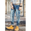 Men's Street Fashion Cool Flap-Pocket Side Rolled Cuff Blue Loose Fit Cargo Jeans