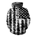 Creative Cool Flag Sketch 3D Printed Black and White Drawstring Hoodie