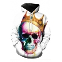 New Trendy Cool Crown Skull 3D Printed Relaxed Fit Hoodie in White