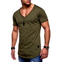 Men's Summer Stylish V-Neck Short Sleeve Plain Cotton Slim T-Shirt