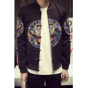 Chinese Style Dragon Embroidery Vintage Long Sleeve Stand Collar Frog Button Black Casual Jacket for Men