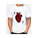 Unique Cool Heart Poker Printed Round Neck Short Sleeve White T-Shirt