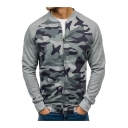 Sport Casual Stand Collar Long Sleeve Camouflage Printed Zipper Men's Sweatshirt Jacket