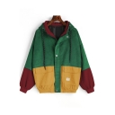 Fashionable Color Block Press-Stud Closure Drawstring Hooded Corduroy Baseball Jacket Coat