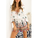 New Stylish V-Neck Ethnic Floral Print Three-Quarter Sleeve Tassels Hem Casual Rompers