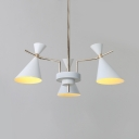 Hourglass Chandelier Lamp with Colorful Metal Shade Macaron Nordic Triple Lights Suspended Light