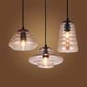 Brown Glass Rippled/Ovale Hanging Light Contemporary Single Head Pendant Lighting for Coffee Shop