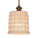 Ceramic Bucket Shade Hanging Light Living Room Corridor 1 Light Pendant Lamp in Antique Brass