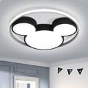 Lovely Cartoon Mouse Lighting Fixture with Halo Ring Kindergarten LED Flushmount with Acrylic Shade in Black/White