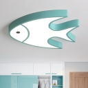 Green Fish Shape LED Flushmount with Acrylic Lampshade Cartoon Ceiling Light for Game Room