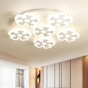 6 Heads Flower Flush Ceiling Light Nordic Style Kindergarten Metallic LED Flush Mount in White