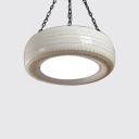 Tyre LED Pendant Light Industrial Style Metal Single Light Hanging Fixture in Cold White Light