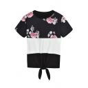 Chic Floral Printed Summer Round Neck Short Sleeve Tied Hem Black T-Shirt