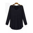 Women's Sexy Cold-Shoulder Long Sleeve Simple Plain Loose Fit T-Shirt