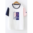 Letter SUGAR Cat Print Colorblocked Short Sleeve Round Neck Loose T-Shirt