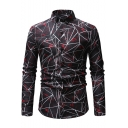 New Fashion Vintage Geometric Pattern Men's Long Sleeve Fitted Button-Front Shirt
