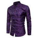 Fashion Coated Metallic Night Club Satin Silk Fitted Button-Up Party Shirt for Men