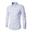 Trendy Allover Five-Point Star Pattern Mens Long Sleeve Slim Fit White Shirt