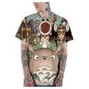 Cute 3D Cartoon Totoro Pattern Basic Crewneck Short Sleeve Green T-Shirt