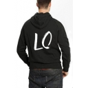 Pop Black Cotton LOVE Print Back Long Sleeves Pullover Hoodie