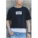 Simple Letter YOUTH REMIND Printed Patched Hem Summer Basic T-Shirt