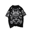 Street Fashion Skull Pattern Comfort Cotton Loose Relaxed Black T-Shirt