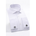 Mens Best Fashion Simple Plain Long Sleeve Button-Up French Cuff Dress Shirt