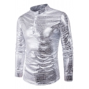 Mens Cool Night Club Sexy Snake Printed Stand-Collar Four-Button Slim Fit Party Shirt