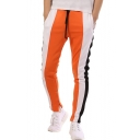 Guys New Fashion Colorblocked Drawstring Waist Skinny Fit Cotton Pencil Pants