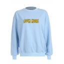 ROCK MORE Simple Letter Printed Mock Neck Long Sleeve Light Blue Sweatshirt