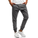 Mens Unique Cool Button-Fly Simple Plain Pleated-Front Elastic Cuff Casual Pencil Pants