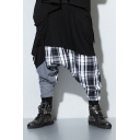 Guys Cool Hip Hop Fashion Unique Plaid Patchwork Cotton Black Baggy Pants Harem Pants