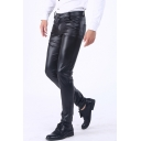 Mens Cool Simple Plain Stretch Slim Fit Black PU Pants Trousers
