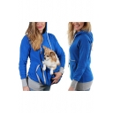 New Stylish Unique Large Pocket Front Long Sleeve Casual Plain Hoodie