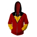 Cool 3D Comic Pattern Long Sleeve Casual Loose Fit Zip Up Red Hoodie