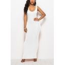 Womens New Fashion Simple Plain Scoop Neck Sleeveless Maxi Bodycon Tank Dress