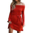 Off The Shoulder Long Sleeve Tie Waist Plain Mini A-Line Dress
