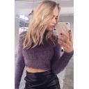 High Neck Long Sleeve Plain Crop Faux Fur Sweater