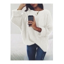Winter Collection Plain Round Neck Ribbed Long Sleeve Sweater