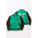 Korean Star Tae Hyung Color Block Letter Print Button Front Baseball Jacket