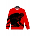 Fashion Game Character Printed Long Sleeve Round Neck Pullover Sweatshirt