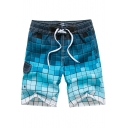 Holiday Beach Surfing Drawstring Plaids Ombre Colorblocked Cargo Swim Shorts for Men