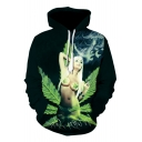 New Stylish Cool 3D Green Leaf Beauty Print Unisex Green Drawstring Hoodie