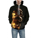 Cool Unique Horror Style 3D Skull Printed Long Sleeve Loose Relaxed Black Hoodie
