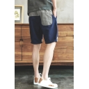Men's Fashion Colorblock Patchwork Rolled-Cuff Loose Fit Navy Relaxed Shorts