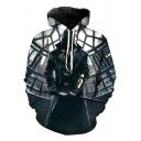 Game Figure 3D Pattern Long Sleeve Pullover Sport Loose Blue Hoodie