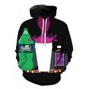 Cool 3D Drink Printed Sport Loose Unisex Pullover Black Drawstring Hoodie