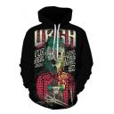 Hip Hop Fashion Skull Printed Long Sleeve Unisex Black Hoodie