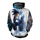 Dragon Ball Goku 3D Galaxy Printed Sport Casual Drawstring Hoodie in White