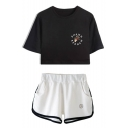 Cool Letter Floral Printed Cropped T-Shirt Casual Shorts Two-Piece Set for Women